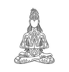 yoga man with dreadlock ornament beautiful vector image