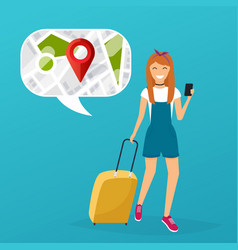 Young woman holding mobile smart phone vector