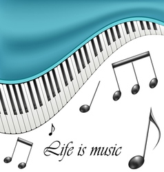 Music text frame with notes and piano keys vector image vector image