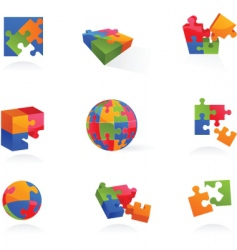 puzzle icons vector image vector image