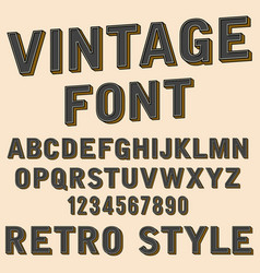 retro 3d alphabet and number sign old typography vector image vector image