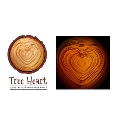 Wooden cross section of the heart shape vector image vector image