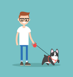 young smiling nerd walking the dog flat editable vector image vector image