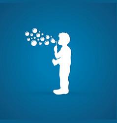 a little boy blowing soap bubbles graphic vector image vector image