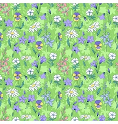 Beautiful wild flowers seamless pattern vector image vector image