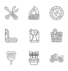 Camping icons set outline style vector