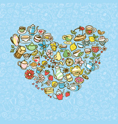 colorful tea doodles vector image vector image