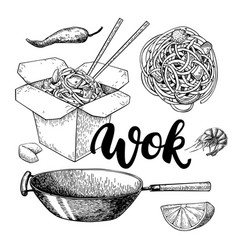 wok drawing with lettering isolated vector image vector image