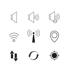 contact voice set icon vector image vector image