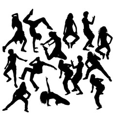 modern dancer silhouettes vector image vector image