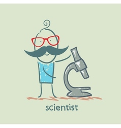 scientist with a microscope vector image vector image
