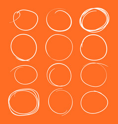 set of the hand drawn scribble circles element on vector image