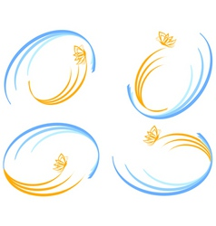 set of waves with butterfly vector image vector image