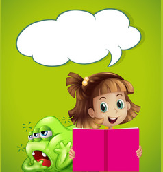 speech bubble template with kid and monster vector image vector image
