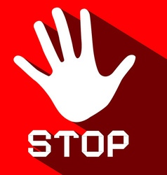 Stop Palm Hand Flat Design Symbol on Red vector image