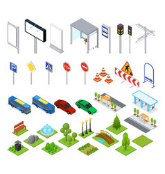 street and park objects set isometric view vector image vector image