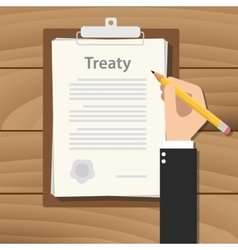 treaty concept agreement with hand hold pencil vector image vector image