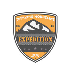 trekking expedition vintage isolated badge vector image vector image