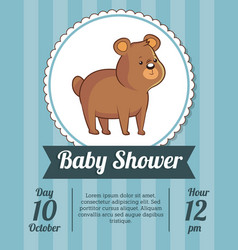 baby shower card invitation save date with cute vector image