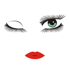 Green eyes with long lashes winking red lips vector