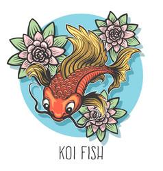 koi fish hand drawn vector image