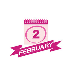 2 february calendar with ribbon vector