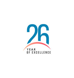 26 year excellence template design vector