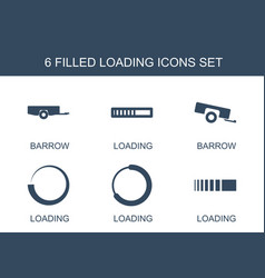 6 loading icons vector