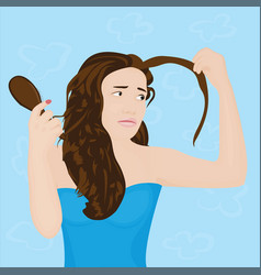 A girl upset with her hair loss vector