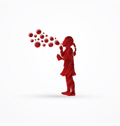 a little girl blowing soap bubbles graphic vector image