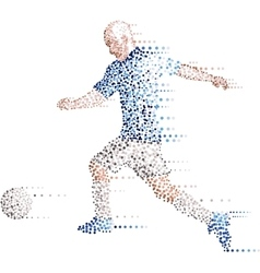 Abstract modern dots football soccer player kick vector image