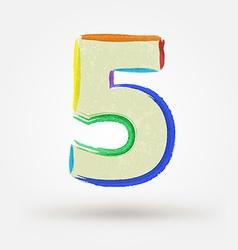 Alphabet letter number five Watercolor paint vector