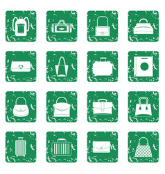 Bag baggage suitcase icons set grunge vector