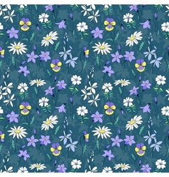 Beautiful wild flowers seamless pattern vector image