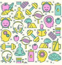 Biohacking concept seamless pattern in colored vector