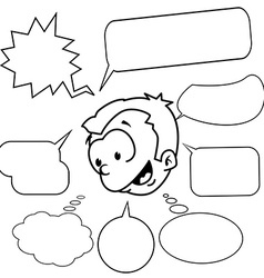 black and white little boy with set of speech vector image