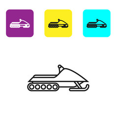 Black line snowmobile icon isolated on white vector