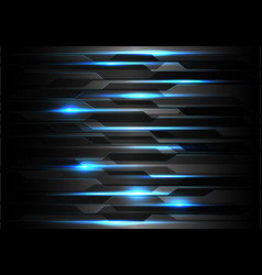 Blue light technology on black polygon vector