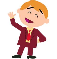 Boy dressed like a businessman greeting vector