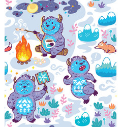 busy yetie seamless pattern in cartoon style vector image