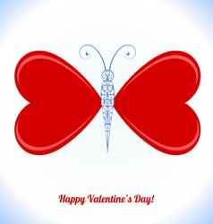Butterfly with wings in the form of red hearts vector