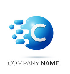 C letter splash logo blue dots and circle bubble vector
