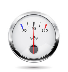Car temperature gauge with chrome frame vector