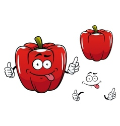 Cartoon funny red bell pepper vegetable character vector image