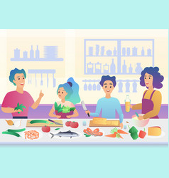 cartoon happy family cooking mother and father vector image