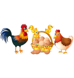 Chickens and little chicks with basket of eggs vector