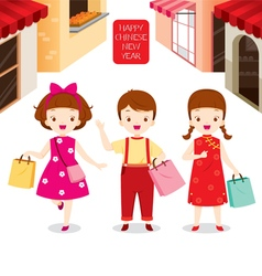 Chinese new year children shopping together vector
