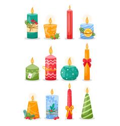 christmas burning wax candles vector image