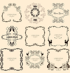 collection beautiful hand drawn vintage frames vector image