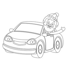 coloring book with a car vector image